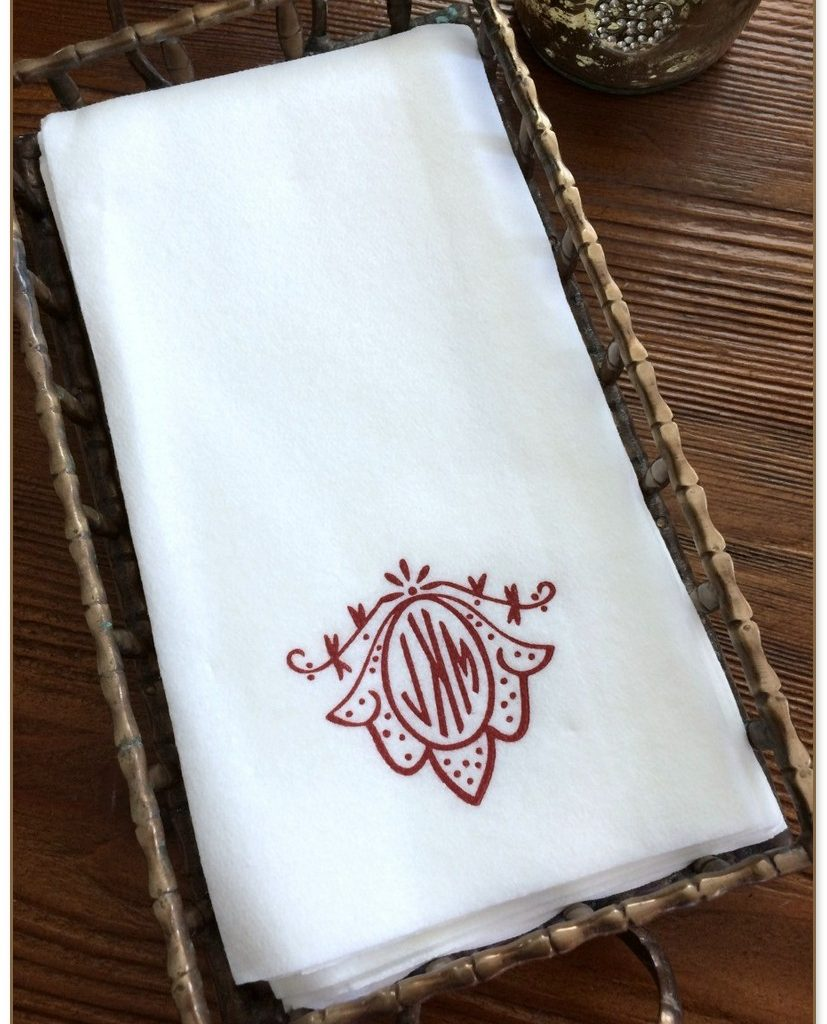 Monogrammed Paper Hand Towels