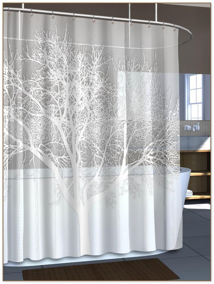Sheer White Shower Curtain