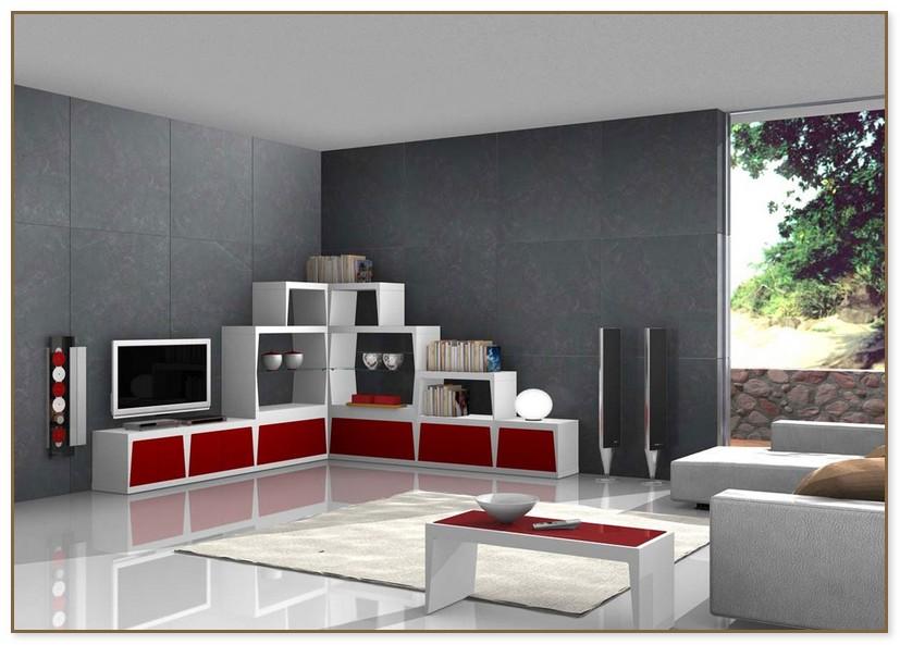 Wohnzimmer Modern Grau Rot
