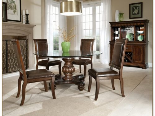 Round Glass Top Dining Table Set
