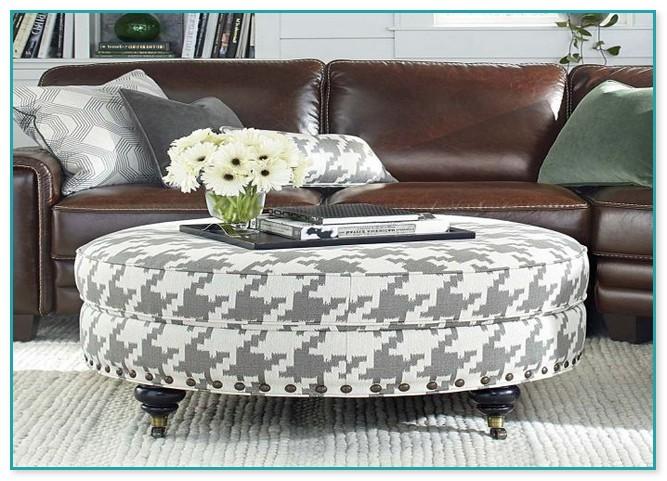 Attractive White Fabric Ottoman Coffee Table