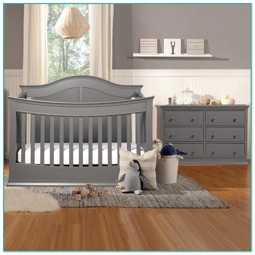 Grey Crib And Dresser Set