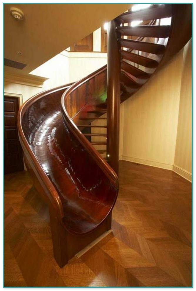 Spiral Staircase With Attached Slide