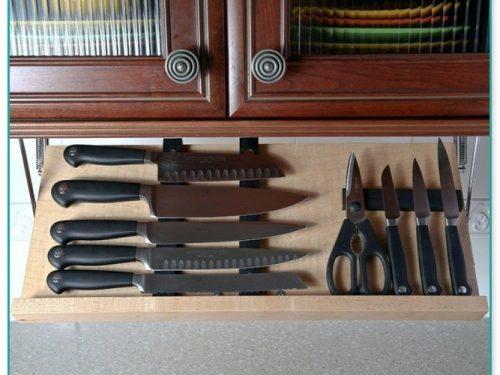 Under Cabinet Fold Down Knife Storage